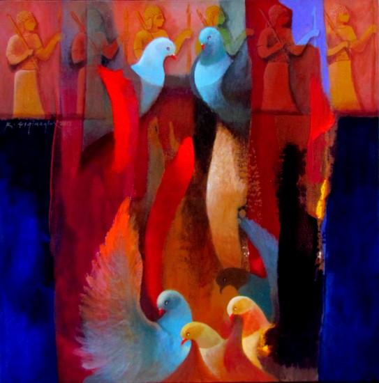 16 Tual Üzerine Akrilik -Acrylic on canvas 50x50 cm  2012